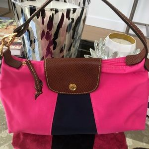 Longchamp Satchel Pink and Navy Nylon and Leather
